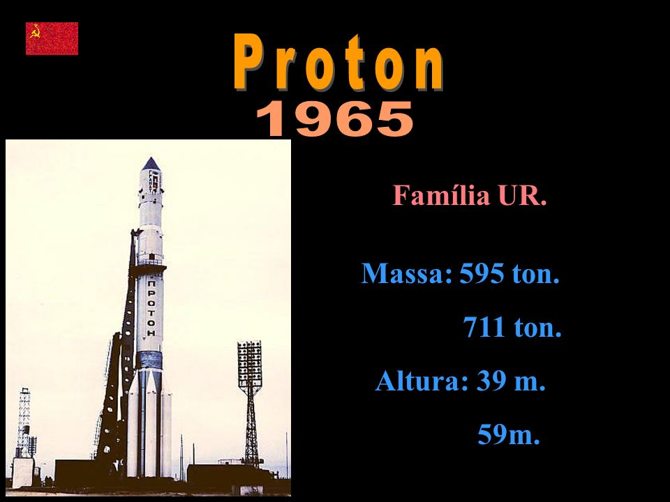 Proton 1965 Família UR. Massa: 595 ton. 711 ton. Altura: 39 m. 59m.