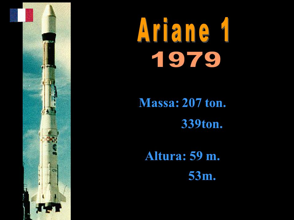 Ariane 1 1979 Massa: 207 ton. 339ton. Altura: 59 m. 53m.