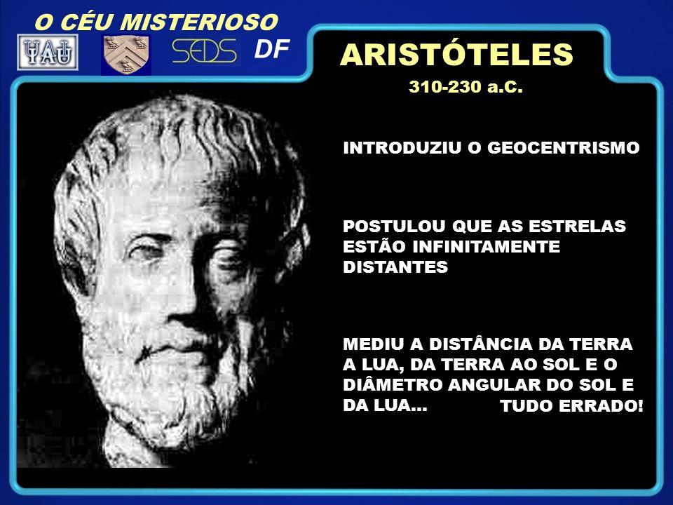 ARISTÓTELES DF O CÉU MISTERIOSO 310-230 a.C. INTRODUZIU O GEOCENTRISMO