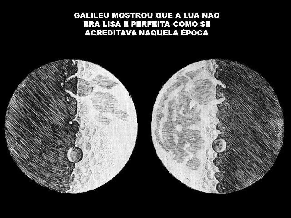 GALILEU MOSTROU QUE A LUA NÃO ERA LISA E PERFEITA COMO SE ACREDITAVA NAQUELA ÉPOCA