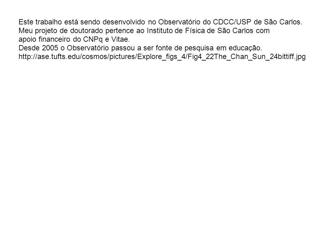 Este trabalho está sendo desenvolvido no Observatório do CDCC/USP de São Carlos.