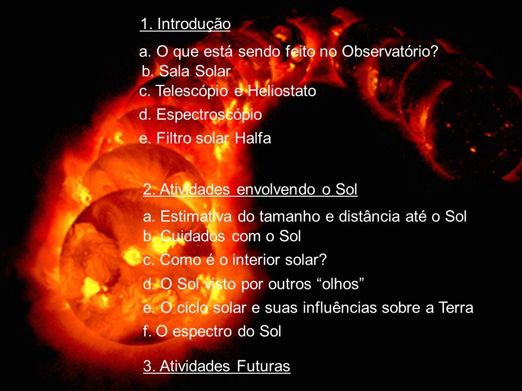 1. Introdução a. O que está sendo feito no Observatório b. Sala Solar. c. Telescópio e Heliostato.