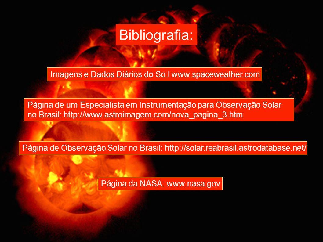 Bibliografia: Imagens e Dados Diários do So:l www.spaceweather.com