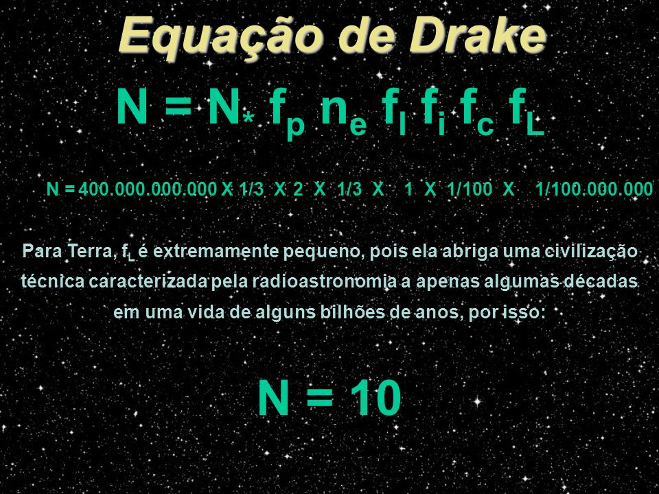 Equação de Drake N = N* fp ne fl fi fc fL N = 10