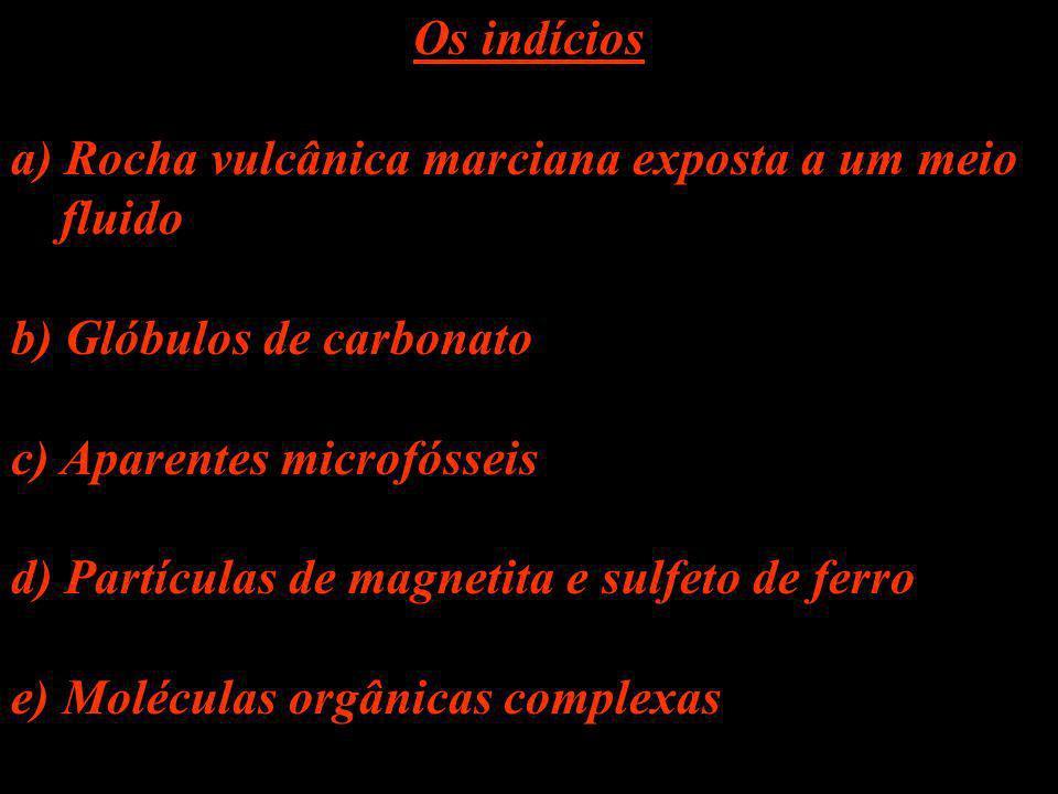 Os indícios a) Rocha vulcânica marciana exposta a um meio. fluido. b) Glóbulos de carbonato. c) Aparentes microfósseis.