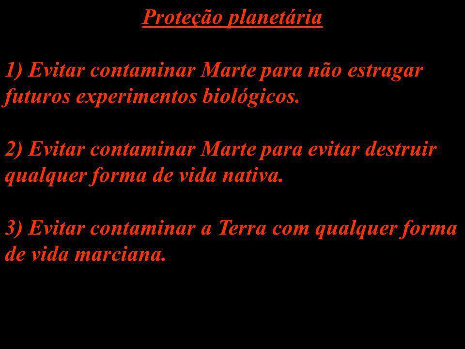 Proteção planetária 1) Evitar contaminar Marte para não estragar futuros experimentos biológicos.