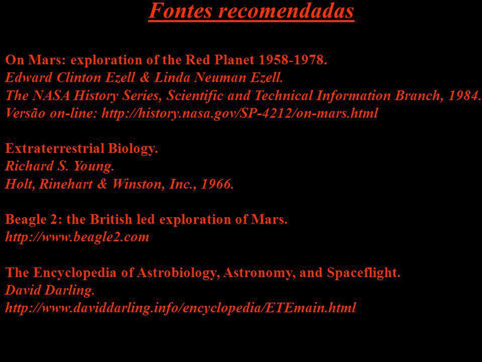 Fontes recomendadas On Mars: exploration of the Red Planet 1958-1978.