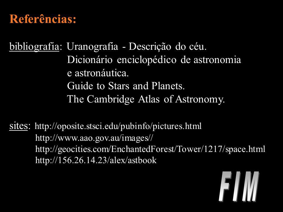FIM Referências: bibliografia: Uranografia - Descrição do céu.
