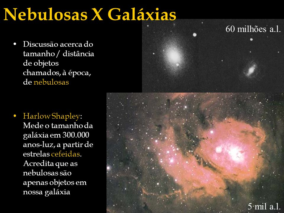 Nebulosas X Galáxias 60 milhões a.l. 5 mil a.l.