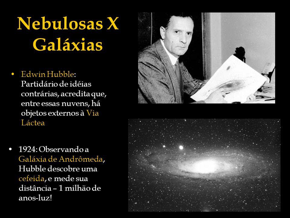 Nebulosas X GaláxiasEdwin Hubble: Partidário de idéias contrárias, acredita que, entre essas nuvens, há objetos externos à Via Láctea.