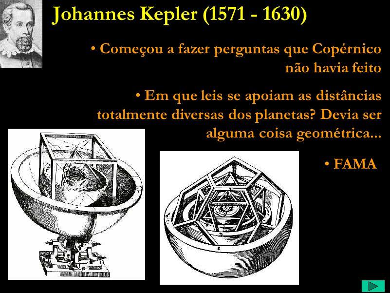 Johannes Kepler (1571 - 1630) Começou a fazer perguntas que Copérnico não havia feito.