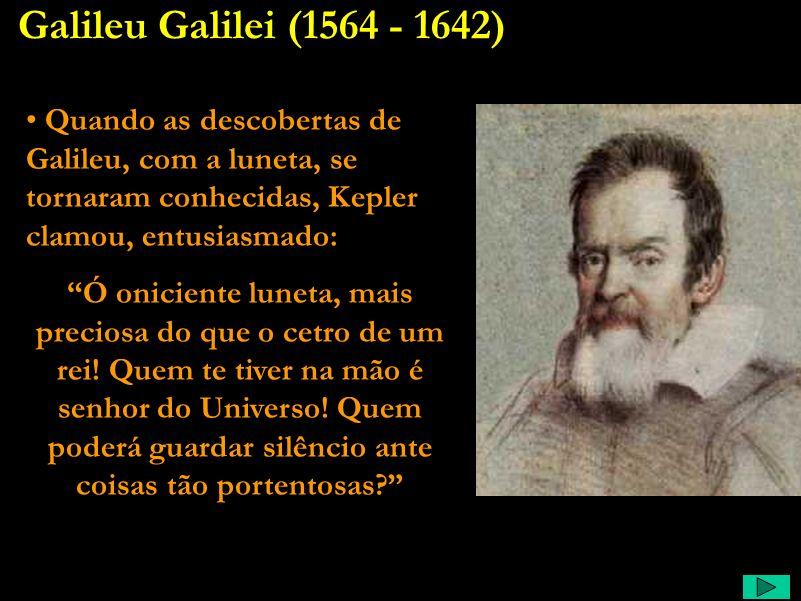 Galileu Galilei (1564 - 1642) Quando as descobertas de Galileu, com a luneta, se tornaram conhecidas, Kepler clamou, entusiasmado: