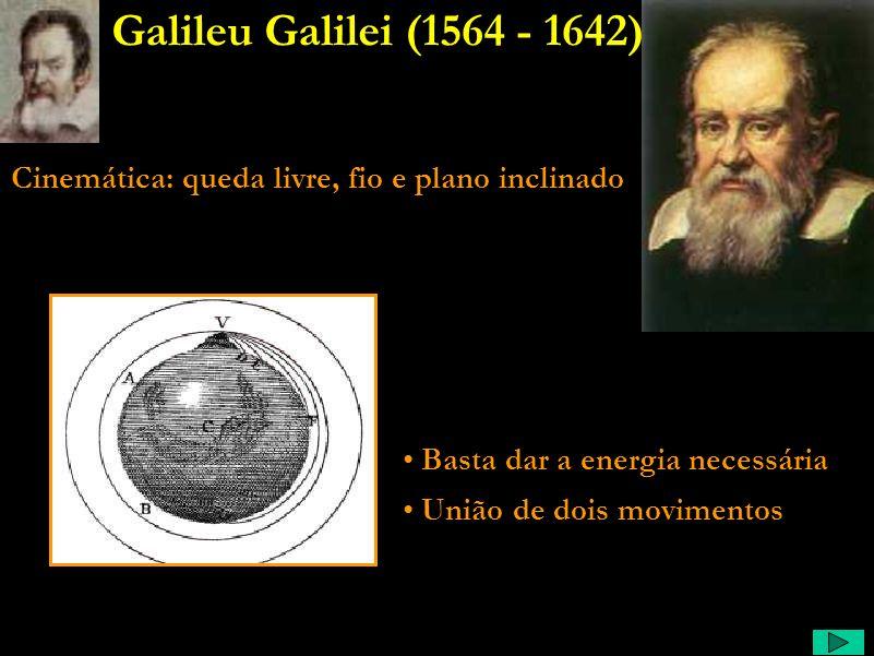 Galileu Galilei (1564 - 1642) Cinemática: queda livre, fio e plano inclinado. Basta dar a energia necessária.
