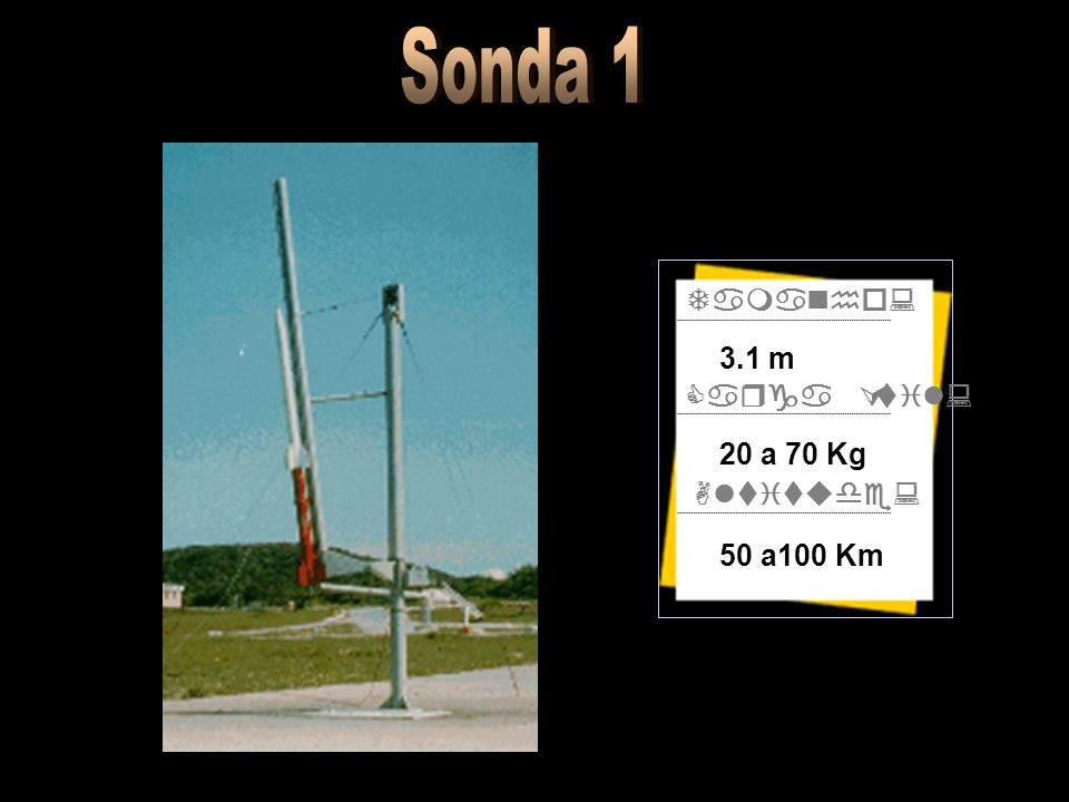 Sonda 1 Tamanho: Carga Útil: Altitude: 3.1 m 20 a 70 Kg 50 a100 Km