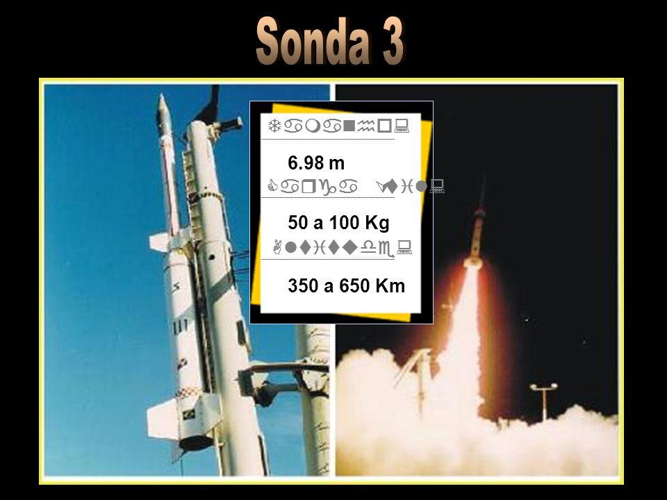 Sonda 3 Tamanho: Carga Útil: Altitude: 6.98 m 50 a 100 Kg 350 a 650 Km