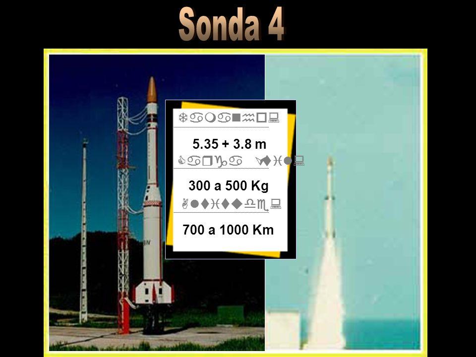 Sonda 4 Tamanho: 5.35 + 3.8 m Carga Útil: 300 a 500 Kg Altitude: