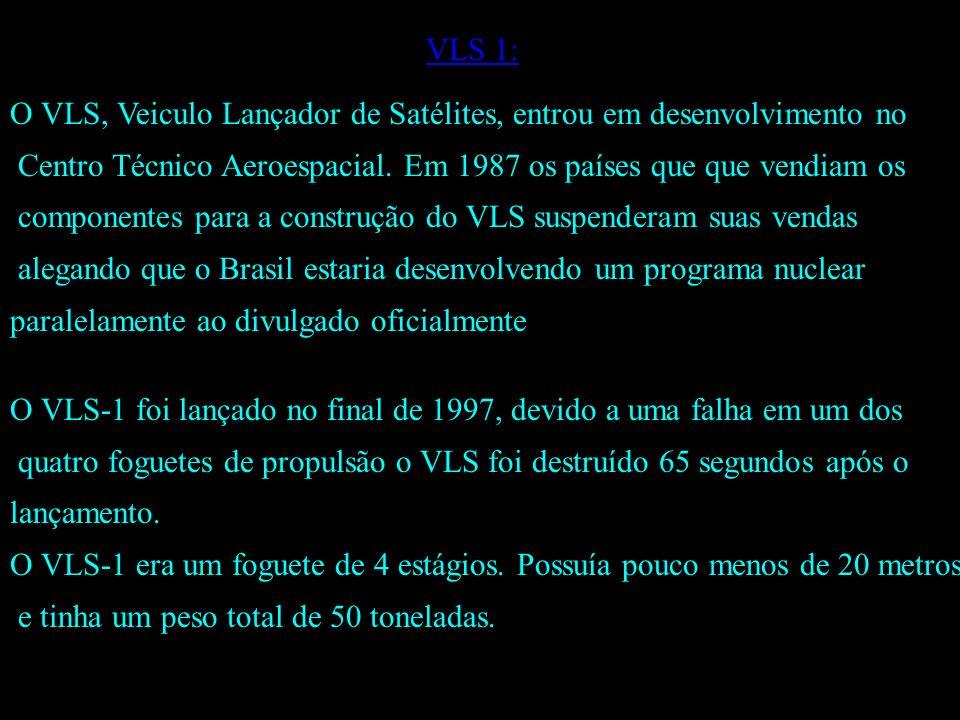 VLS 1: O VLS, Veiculo Lançador de Satélites, entrou em desenvolvimento no. Centro Técnico Aeroespacial. Em 1987 os países que que vendiam os.