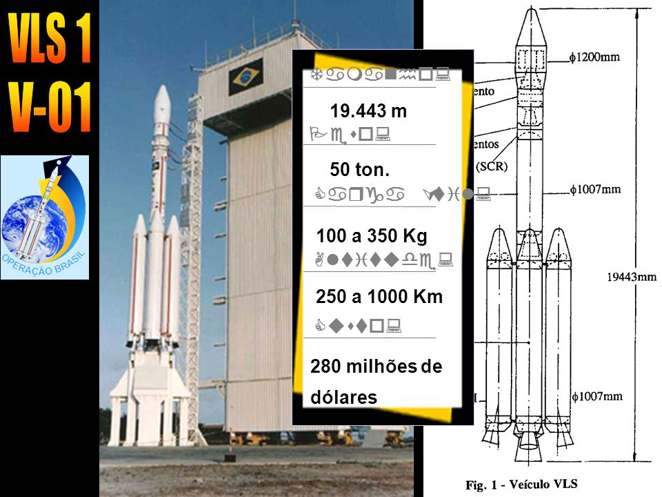 VLS 1 V-01 Tamanho: 19.443 m Peso: 50 ton. Carga Útil: 100 a 350 Kg