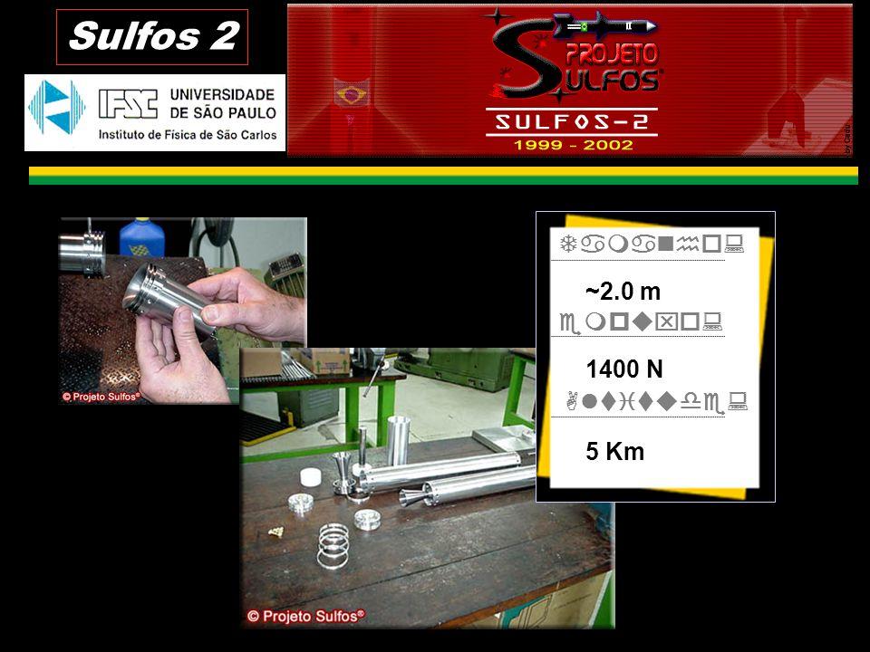 Sulfos 2 Tamanho: empuxo: Altitude: ~2.0 m 1400 N 5 Km