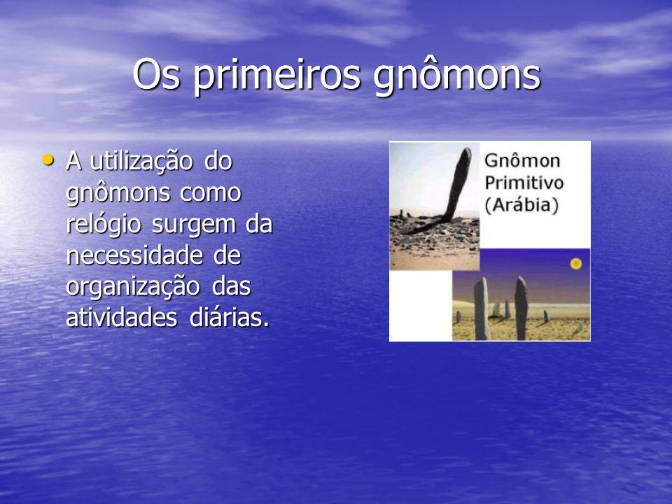 Os primeiros gnômons A utilização do gnômons como relógio surgem da necessidade de organização das atividades diárias.