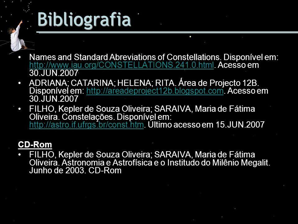 Bibliografia Names and Standard Abreviations of Constellations. Disponível em: http://www.iau.org/CONSTELLATIONS.241.0.html. Acesso em 30.JUN.2007.