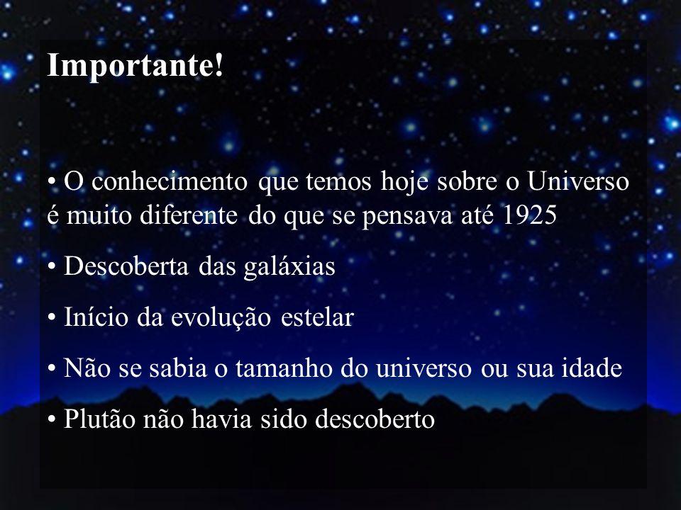 Importante! O conhecimento que temos hoje sobre o Universo é muito diferente do que se pensava até 1925.