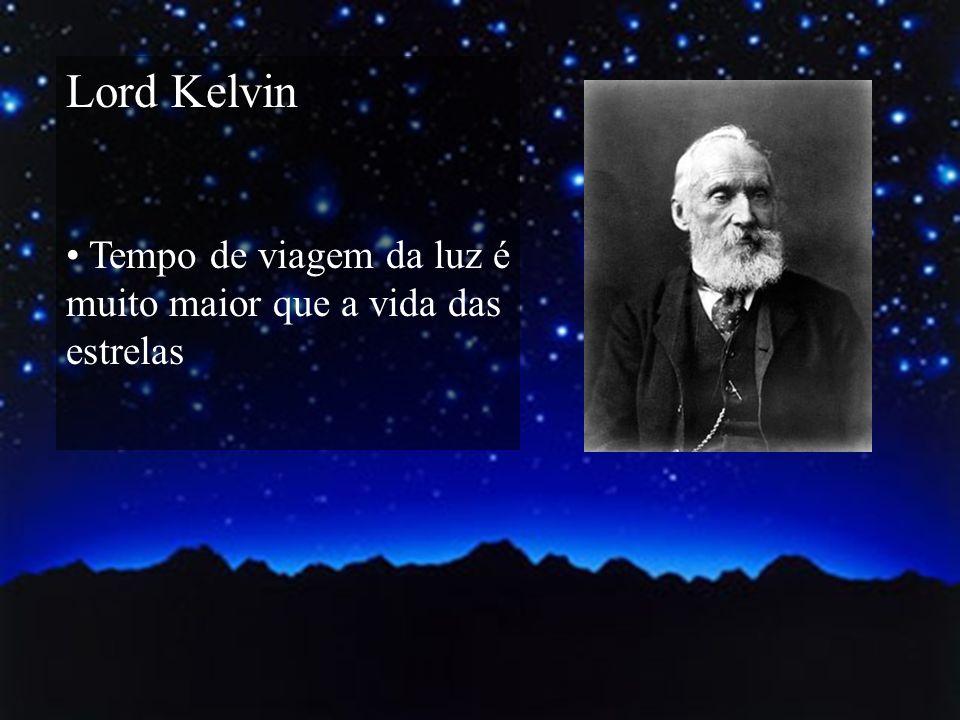 Lord Kelvin Tempo de viagem da luz é muito maior que a vida das estrelas.