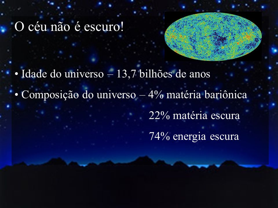 O céu não é escuro! Idade do universo – 13,7 bilhões de anos