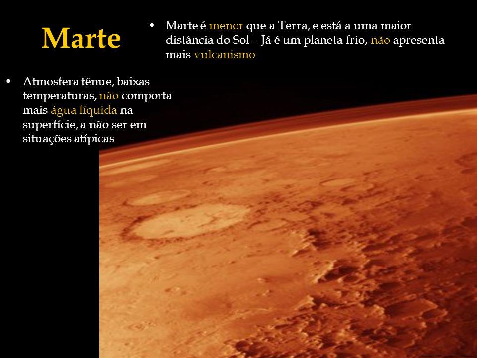 Marte Marte é menor que a Terra, e está a uma maior distância do Sol – Já é um planeta frio, não apresenta mais vulcanismo.