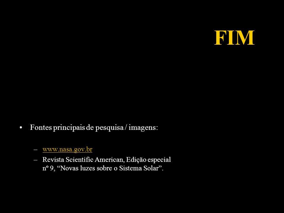FIM Fontes principais de pesquisa / imagens: www.nasa.gov.br