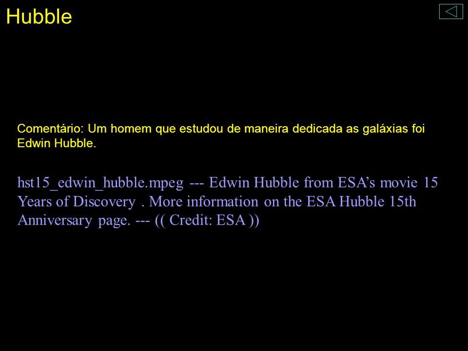 Hubble Comentário: Um homem que estudou de maneira dedicada as galáxias foi Edwin Hubble.