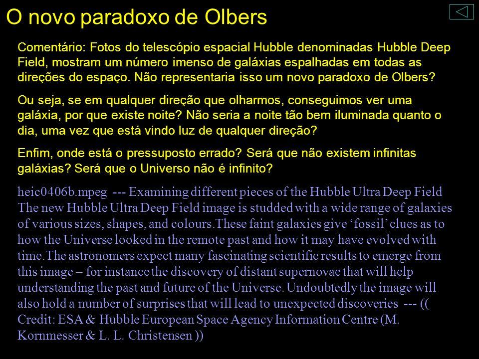 O novo paradoxo de Olbers