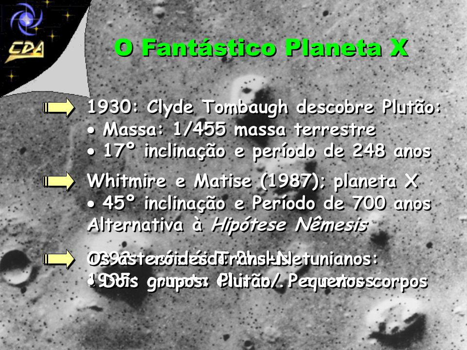 O Fantástico Planeta X1930: Clyde Tombaugh descobre Plutão:  Massa: 1/455 massa terrestre  17º inclinação e período de 248 anos.