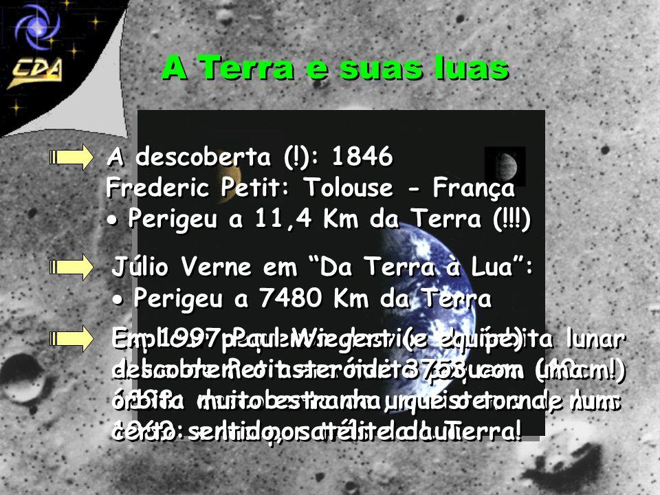 A Terra e suas luasA descoberta (!): 1846 Frederic Petit: Tolouse - França  Perigeu a 11,4 Km da Terra (!!!)
