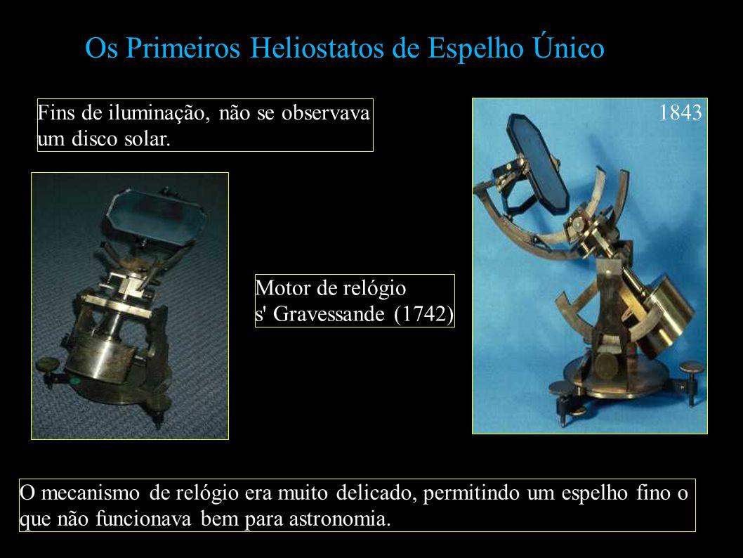Os Primeiros Heliostatos de Espelho Único