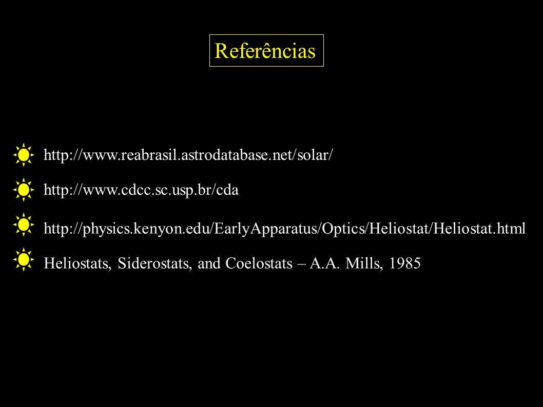 Referências http://www.reabrasil.astrodatabase.net/solar/