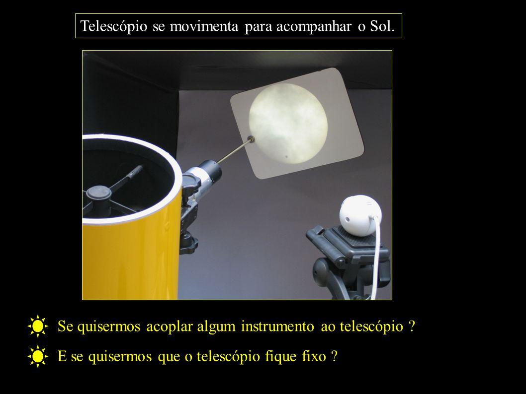 Telescópio se movimenta para acompanhar o Sol.