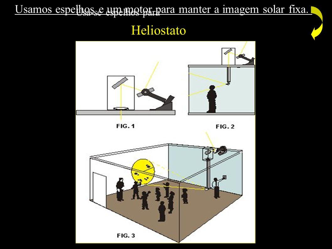 Heliostato Usamos espelhos e um motor para manter a imagem solar fixa.