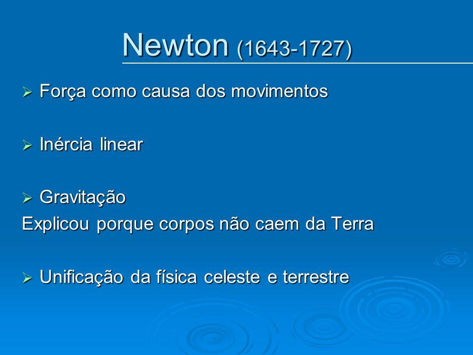 Newton (1643-1727) Força como causa dos movimentos Inércia linear