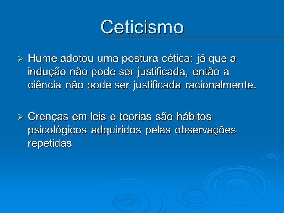 Ceticismo Hume adotou uma postura cética: já que a indução não pode ser justificada, então a ciência não pode ser justificada racionalmente.