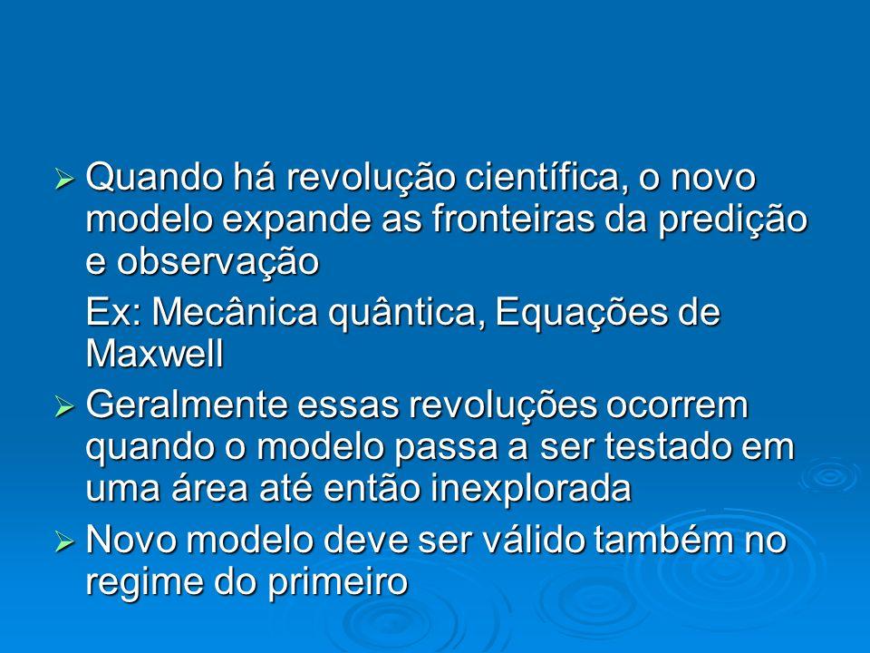 Quando há revolução científica, o novo modelo expande as fronteiras da predição e observação