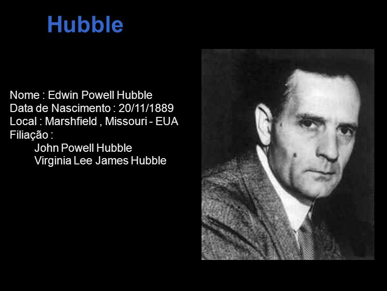 Hubble Nome : Edwin Powell Hubble Data de Nascimento : 20/11/1889