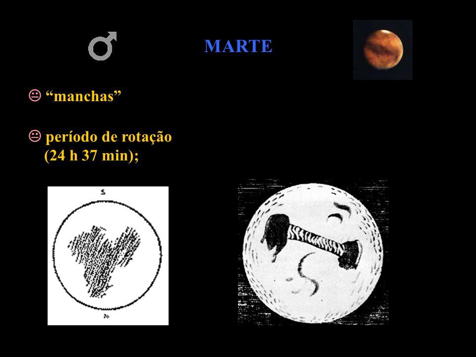 MARTE  manchas  período de rotação (24 h 37 min);
