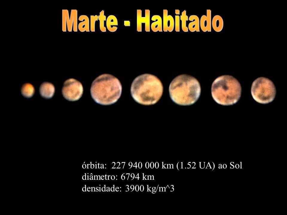 Marte - Habitado órbita: 227 940 000 km (1.52 UA) ao Sol