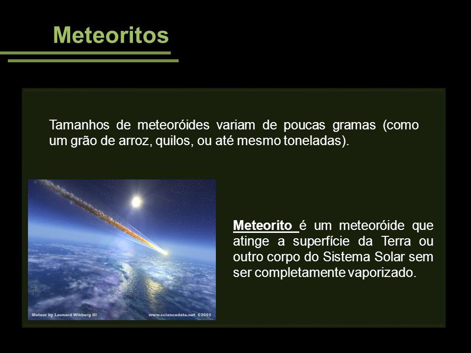 Meteoritos Tamanhos de meteoróides variam de poucas gramas (como um grão de arroz, quilos, ou até mesmo toneladas).