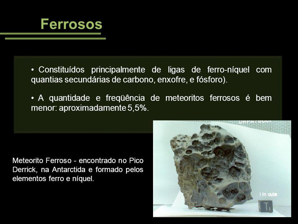 Ferrosos Constituídos principalmente de ligas de ferro-níquel com quantias secundárias de carbono, enxofre, e fósforo).