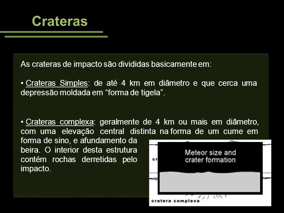 Crateras As crateras de impacto são divididas basicamente em: