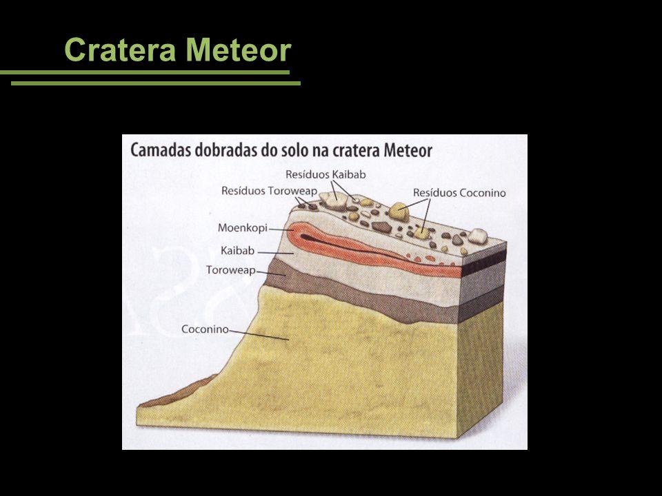 Cratera Meteor Note o dobramento das camadas gerado pela queda do meteorito.