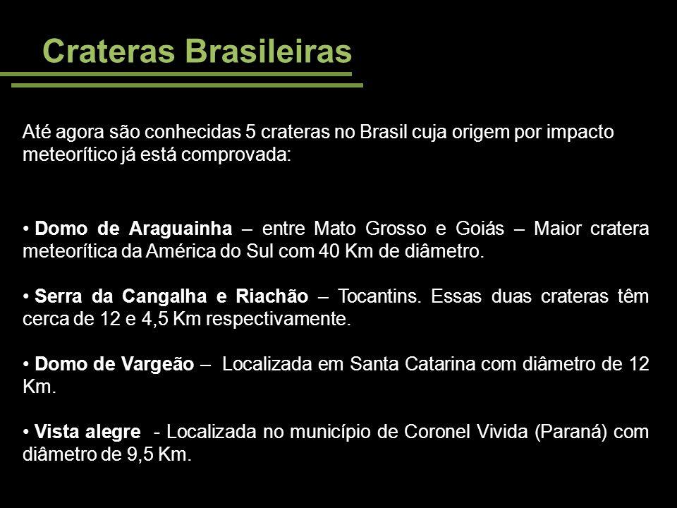 Crateras Brasileiras Até agora são conhecidas 5 crateras no Brasil cuja origem por impacto meteorítico já está comprovada: