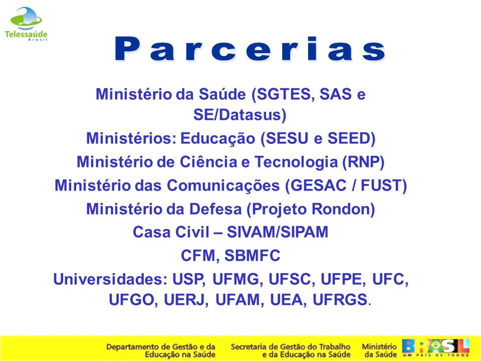 Parcerias Ministério da Saúde (SGTES, SAS e SE/Datasus)